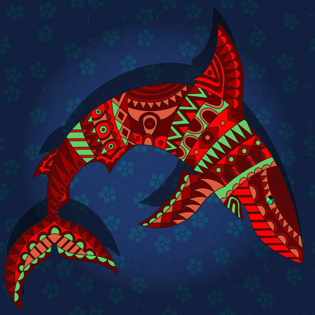 Illustration with abstract red shark on a dark blue floral background Ilustração