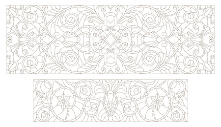 horizontal orientation: Set contour illustrations of stained glass with abstract swirls and flowers , horizontal orientation Illustration