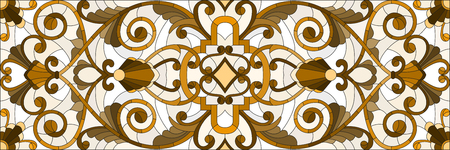 horizontal orientation: Illustration in stained glass style with abstract  swirls ,flowers and leaves  on a light background,horizontal orientation, sepia