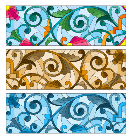 Set of illustrations of stained glass with abstract swirls and flowers , horizontal orientation Illustration