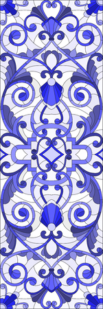 gamma: Illustration in stained glass style with abstract  swirls,flowers and leaves  on a light background,vertical orientation gamma blue