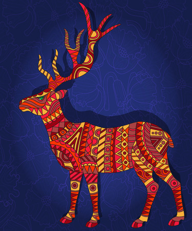 Illustration with abstract red deer on a dark blue floral background