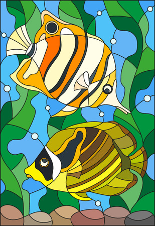 Illustration in stained glass style with a pair of fish butterfly on the background of water and algae Ilustrace
