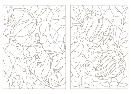Set contour illustrations of stained glass with aquarium fish,butterfly fish and Moorish idols