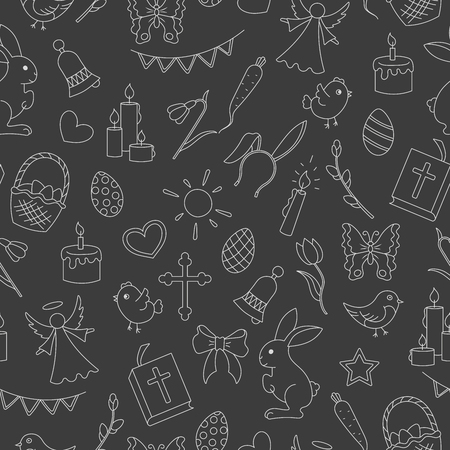 Seamless pattern with simple contour icons on the theme of the Easter holiday , bright contours on a dark background