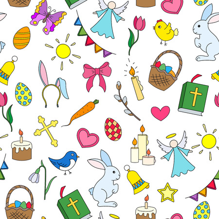 Seamless pattern with simple icons on a theme the holiday of Easter ,colored icons on white background Çizim