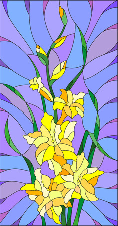 Illustration in stained glass style flower of yellow gladiolus on a purple background Illustration