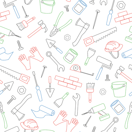 Seamless background on the topic of construction and repair, construction equipment, simple colored contour icons on white background
