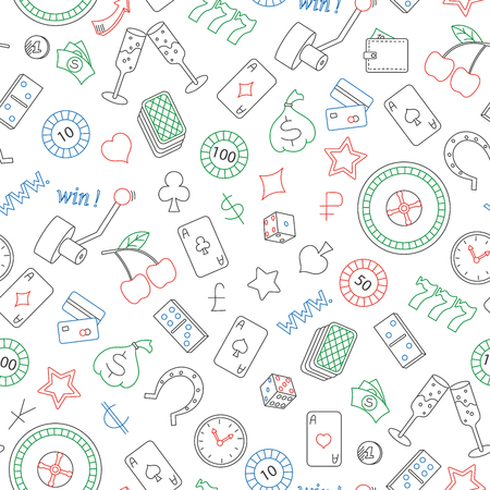 Seamless pattern on the theme of gambling and money simple colored contour icons on white background