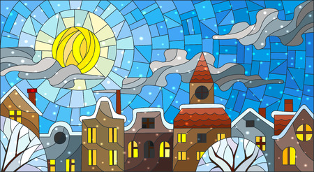 Illustration in stained glass style, urban landscape,snow-covered roofs and trees against the sky, sun , clouds and snow