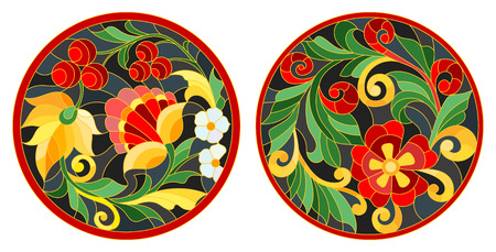 Set of illustrations of the round stained glass Windows with abstract flowers and leaves, stylized folk painted Khokhloma