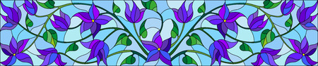 horizontal orientation: Illustration in stained glass style with abstract blue flowers on a blue  background,horizontal orientation