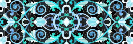 검은 배경에 추상 소용돌이, 꽃과 잎 스테인드 글라스 스타일 그림, 가로 방향