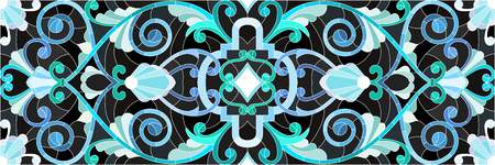 Illustration in stained glass style with abstract  swirls,flowers and leaves  on a black background,horizontal orientation Illustration