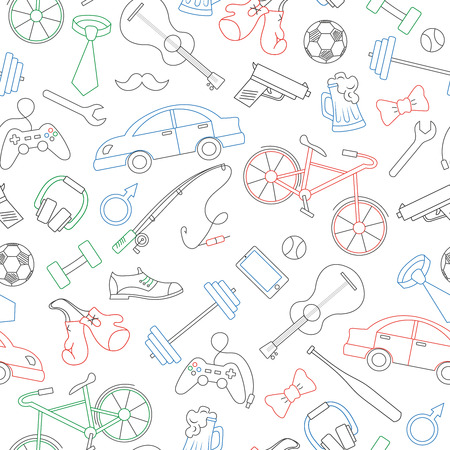 Seamless pattern on the theme of male Hobbies and habits, simple colored contour icons on white background Illustration