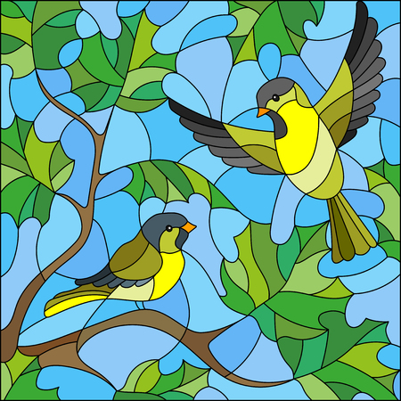Illustration in stained glass style on the theme of summer, two siskin in the sky and maple leaves Illustration