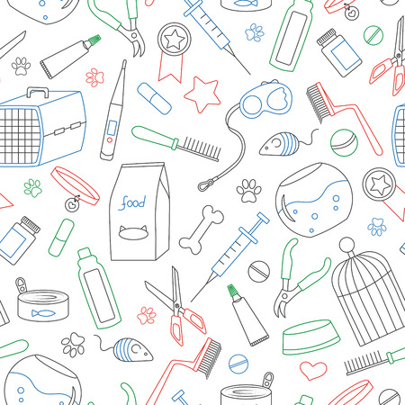 Seamless background on the topic of pet care, pet shop, simple contour icons,  simple colored contour icons on white background Illustration