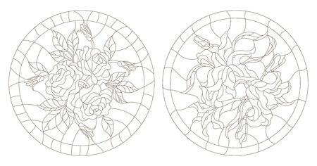 an example: Set contour illustrations of the round stained glass with roses and lilies Illustration