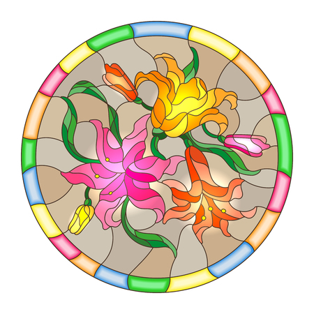 Illustration in stained glass style with flowers and leaves  of lilies in a bright round frame