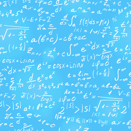 Seamless background on the topic of mathematical theorems, symbols, and formulas, light contour on a blue  background