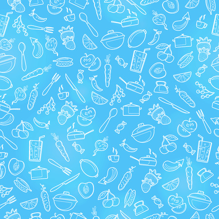 Seamless pattern with outline icons on a theme kitchen accessories and food , a light  outline on a blue  background