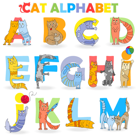 Latin alphabet, part 1 ,from A to M, funny cartoon cat in the form of letters Иллюстрация