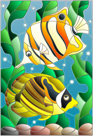 Illustration in stained glass style with a pair of fish butterfly on the background of water and algae Çizim