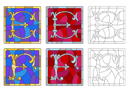 The set of letters of the Latin alphabet in the stained glass style of letters E  and F Illustration