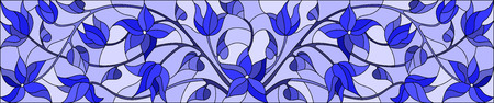 gamma: Illustration in stained glass style with abstract  swirls,flowers and leaves  on a light background,horizontal orientation,gamma blue