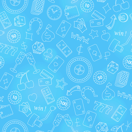 Seamless pattern on the theme of gambling and money simple contour icons on blue  background