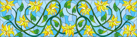 horizontal orientation: Illustration in stained glass style with abstract yellow flowers on a blue  background,horizontal orientation