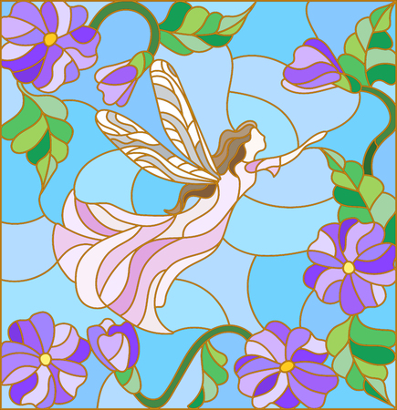 Illustration in stained glass style with a winged fairy in the sky, flowers and greenery.