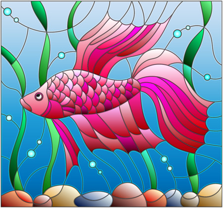 fighting fish: Illustration in stained glass style with red fighting fish on the layout of water and algae.