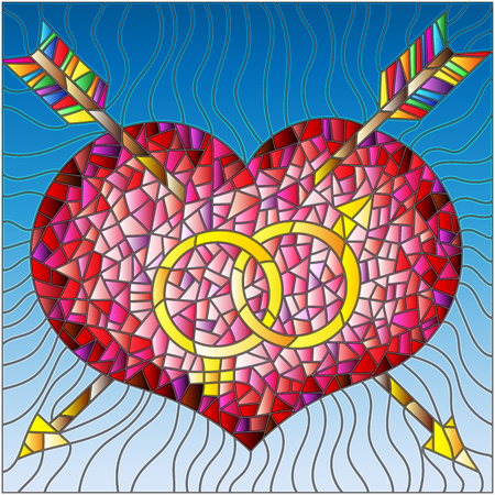 Illustration in stained glass style heart ,arrow and male and female sign color version.