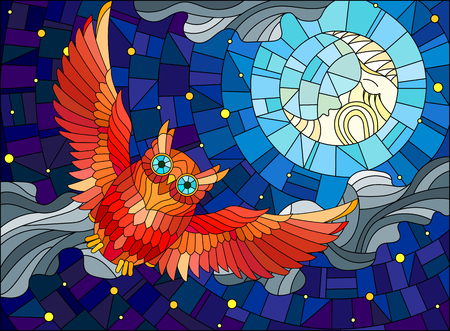 Illustration in stained glass style with fabulous red owl and moon on background night star sky and clouds Vectores