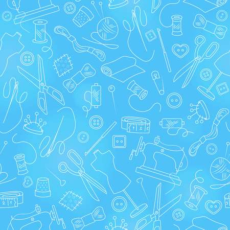 Seamless pattern on the theme of needlework and sewing , simple outline icons on a blue background