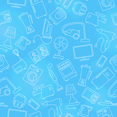 Seamless pattern topic of household appliances, a light outline on a blue background Illustration