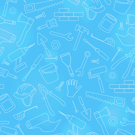Seamless background on the topic of construction and repair, construction equipment, simple contour icons, white contour on  blue background
