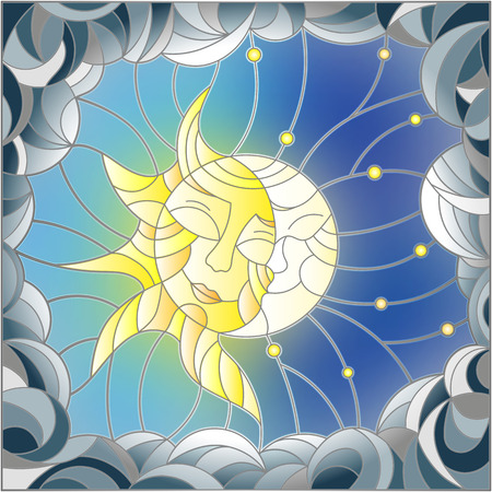 Illustration in stained glass style , abstract sun and moon in the sky
