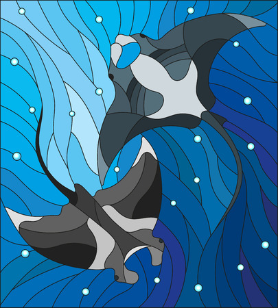 Illustration in the style of stained glass with two manta rays manta rays on the background of water and air bubbles Vectores