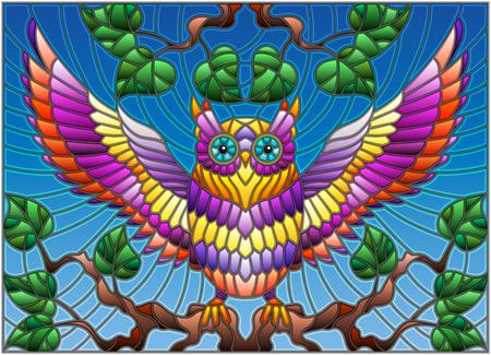 Illustratie in glas in lood stijl met prachtige kleurrijke uil zit op een boomtak tegen de hemel