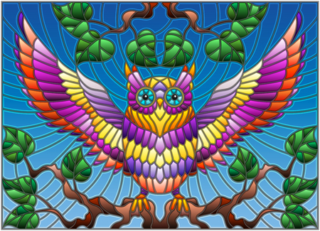 Illustration in stained glass style with fabulous colourful owl sitting on a tree branch against the sky Vectores