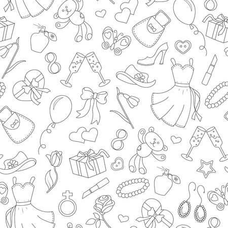 Seamless pattern on the theme of international womens day March 8, a simple outline icon on the topic of women, black contour on white background Illustration