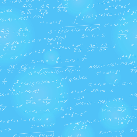 Pattern on the theme of the subject of mathematics, formulas, theorems , light characters on a blue