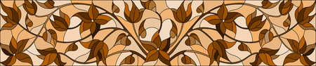 Illustration in stained glass style with  flowers,monochrome Sepia, horizontal orientation Illustration
