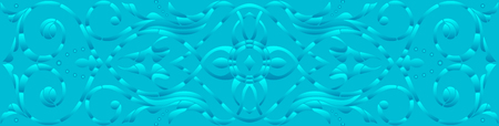 horizontal orientation: Background illustration with abstract flowers, blue halftone, horizontal orientation