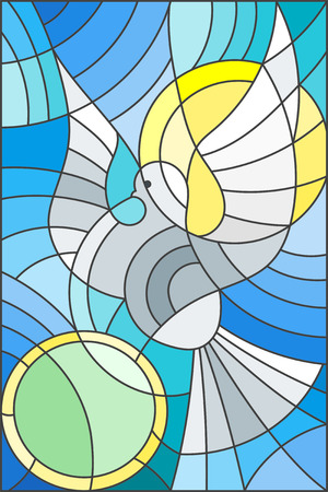 Illustration in stained glass style with abstract pigeon and the sun in the sky