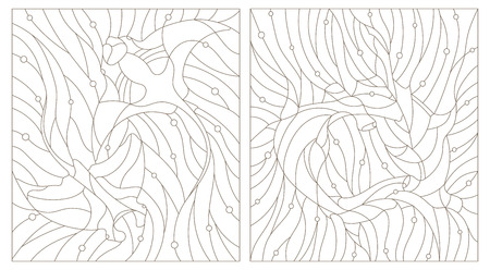 Set contour illustrations of stained glass fish hammerhead and manta rays on the background of water and air bubble Illustration