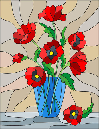 Illustration in stained glass style with bouquets of red poppies flowers in a blue vase on table on beige background