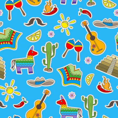 endlos: Seamless pattern on the theme of recreation in the country of Mexico, colorful patches icons on blue background